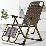 YVX Garden Chairs Recliners Brown Wicker Chairs Rattan Recliner Folding Chair In Weatherproof For Patio Beach, Balcony, Park Or Campsite c2012 (Color : Park 1)