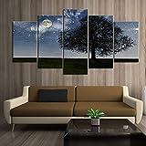 LWJPD Cuadro en Lienzo 5 Partes Cartel De Pintura Decorativa Moda Oficina Mural para El Hogar Luz De Luna Sombra Arte Pintura De Paisaje Sin Marco 60 Inch
