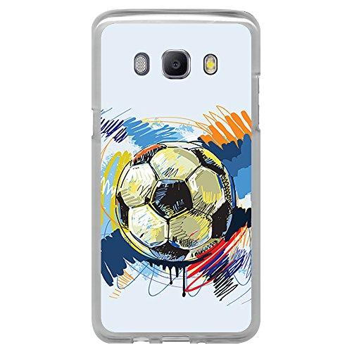BJJ Funda Transparente para [ Samsung Galaxy J5 2016 ], Carcasa de Silicona Flexible TPU, diseño: Pelota de Futbol Abstracto