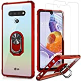 LUMARKE Stylo 6 Case with Screen Protector(2-Pack),Pass 16ft Drop Test Military Grade Crystal Clear Cover with Magnetic Kickstand,Protective Phone Case for Stylo 6 Red