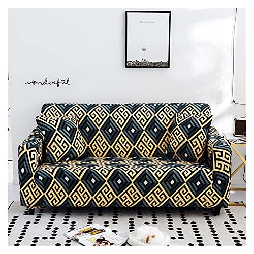 QYSM Moderna funda de sofá elástica geométrica para sala de estar, funda de sofá modular, funda para sillón tipo L de 1/2/3/4 (color: 3, tamaño: 3 plazas, 190-230 cm)