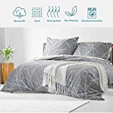 Bedsure Baumwolle Bettwäsche 135x200 cm 4 teilig Grau/Beige Bettbezug Set mit schickem Zweige Muster, weiche Flauschige Bettbezüge mit Reißverschluss und 2 mal 80x80cm Kissenbezug - 3