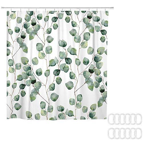Fhdpeebu Dusche Vorhang Aquarell GrüN Blumen Eukalyptus Runde BläTter Muster Zweige Home Badezimmer Dekor Polyester Stoff Wasserdicht 72 X 72 Zoll Set mit Haken