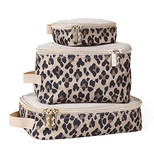 Itzy Ritzy Packing Cubes  Set of 3 Packing Cubes or Travel Organizers Each Cube Features A Mesh Top Double Zippers amp A Fabric Handle Leopard