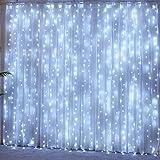 Tenda Luminosa 3x3m 300 Led Luci a Cascata con 8 Modelli di illuminazione Tenda di Luci Waterproof per Esterno Giardino e Interno Camera Decorazioni Natale, Nuovo Anno, Feste, Matrimoni_Bianco Freddo