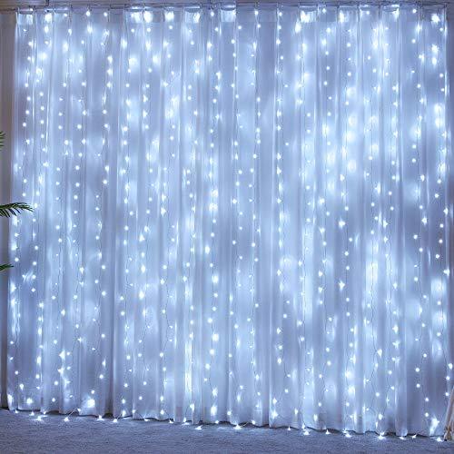 Tenda Luminosa 3x3m 300 Led Luci a Cascata con 8 Modelli di illuminazione Tenda di Luci Waterproof per Esterno Giardino e Interno Camera Decorazioni Nuovo Anno, Feste, Matrimoni_Bianco Freddo