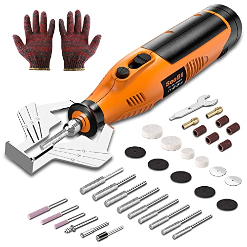 Seesii Cordless Chainsaw Sharpener, Handheld Electric Chainsaw Sharpening Kit, Multi-Function High Speed Chain Saw Sharpen Tool Set Battery Powered with 12pcs Sharpening Wheels, Angle Attachment