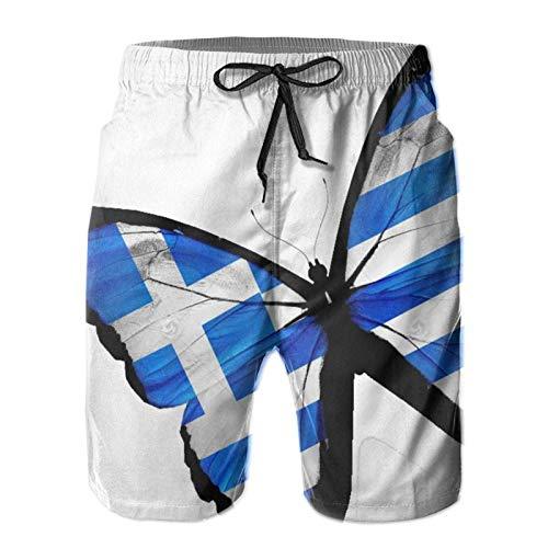 The Greek Flag Butterfly Bañadores Informales para Hombre Pantalones Cortos de Playa de Secado rápido Bañadores de Verano con Forro de Malla, XXL