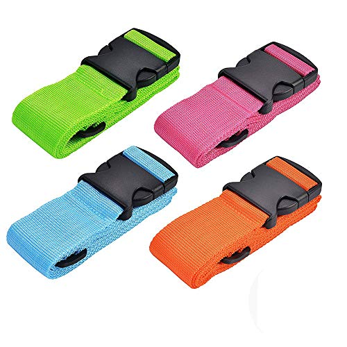 Luggage Straps 4Pack Adjustable Suitcase Belts Travel Packing Belt with Buckle Closure Baggage Security Straps 4 Colors