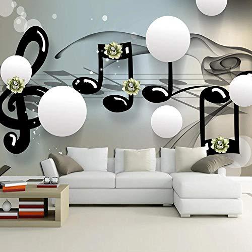 3D Papel Pintado Fotográfico 300(W)X210(H) cm Bola blanca de nota musical negra Salón Dormitorio Despacho Pasillo Decoración murales decoración de paredes moderna