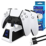 PS5 Controller Charger, Playstation 5 Controller Charging Station, Fast Charging Dock Compatible with Sony Playstation 5 DualSense, USB Type C PS5 Controller Charger Station with LED Indicator -White