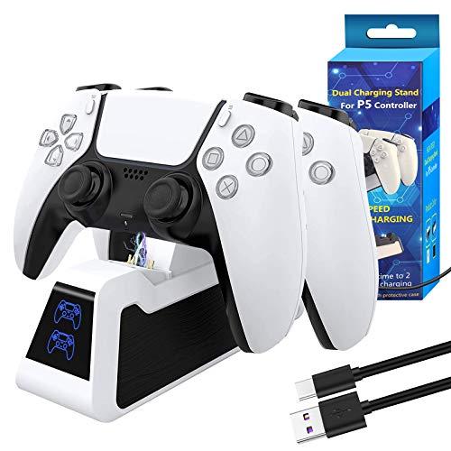 PS5 Controller Dual Ladestation, PS5 DualSense Controller Ladegerät, Schnellladestation Kompatibel mit Sony Playstation 5, USB Typ C PS5 Ladestation Ständer mit LED-Anzeige, Weiß