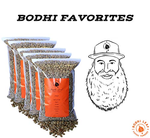 Bodhi Sampler Pack - Top 5 Green Coffees Recommended By our Roastery - Green Unroasted Coffee Beans - 100% Arabica Raw Coffee - Specialty Grade (5 LB - 1 lb of Each)