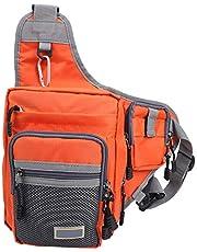 Pwshymi Bolsa de Ocio al Aire Libre Bolsa de Aparejos de Pesca Bolsa Deportiva Cinturón ergonómico Ajustable Bolsa de sillín de Caballero para Pescar(Orange)