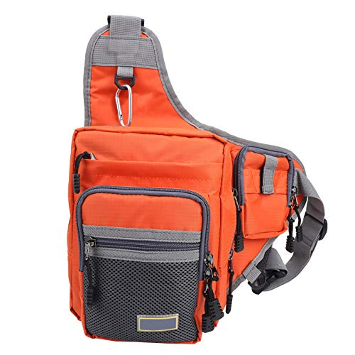 Omabeta Knight Saddle Bag Bolsa de deporte al aire libre Bolsa de aparejos de pesca Bolsa de deporte ajustable Cinturón ergonómico Bolsa de deporte para pesca (naranja)