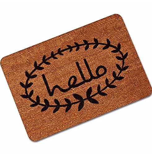 "Hello You Again - Felpudo para puerta de entrada y exterior, antideslizante, diseño de texto ""Welcome Home"""