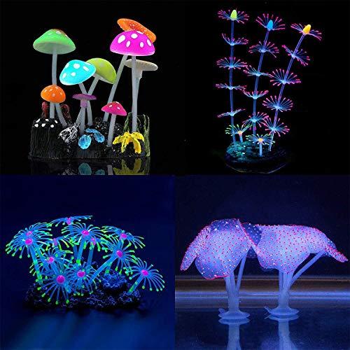 Yiwong Glowing Künstlicher Pilz Coral Plant Ornament Glowing Silikon, Aquarium Dekoration 4-teiliges Set, Künstliche Korallen Pflanze Silikon Aquarium Decor, Künstliche Dekoration für Aquarium