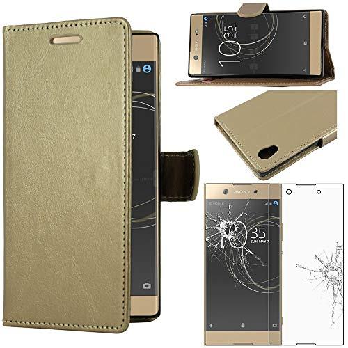 ebestStar - kompatibel mit Sony Xperia XA1 Ultra Hülle XA1 Ultra/Dual (2017) Wallet Hülle Handyhülle [PU Leder], Kartenfächern Standfunktion, Gold +Panzerglas Schutzfolie [Phone: 165x79x8.1mm 6.0
