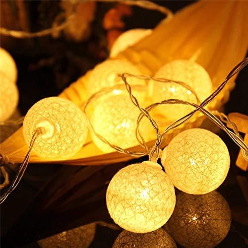 LED Lichterkette Baumwollkugeln mit Stecker, 3,8m 20er Cotton Ball Lichterketten Kugeln Nachtlicht für Weihnachten, Hochzeit, Party, Zimmer, Wohnheim, Innen Deko