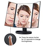 Panzl Tri-Fold Lighted Vanity Mirror with 21 LED Lights Touch Screen 1X/2X/3X Magnifying