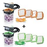 Genius Nicer Dicer Quick - Utensilio para Cortar Alimentos (7 Piezas, Acero Inoxidable, plástico), Color Verde y Naranja