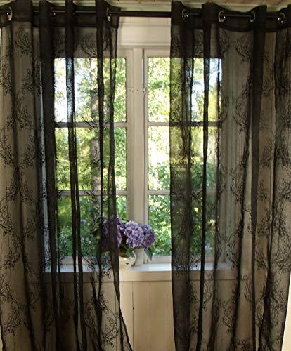 LillaBelle Vorhang Mila Schwarz Gardine 135x240 cm 2 Stück Gothic