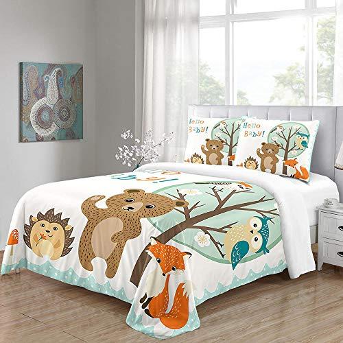 Juegos de Ropa de Cama para NiñOs NiñOs NiñAs Dibujos Animados Animal Fox Print Colchas Juego de Cama de 3 Piezas 1 Funda NóRdica 2 Funda de Almohada -264 * 229cm