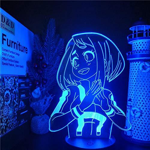 3D Anime Lampe Illusion Boku No Hero Academia Ochaco Uraraka LED-Nachtlichter My Hero Academia Visual Light Home Decor - Keine Fernbedienung