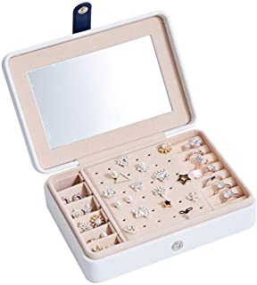 Kabinga Boîte de Rangement pour Bijoux Portable et Multifonctions en polyuréthane avec Miroir, Blanc et Blanc Taille M