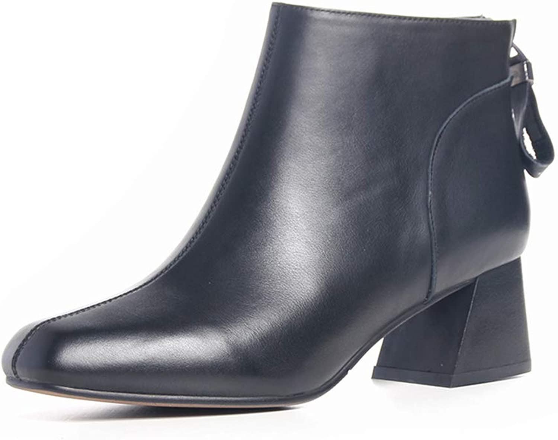 YAN Damenmode Schuhe New Leder nackte Stiefel Reiverschluss Leder Stiefeletten Absatzferse Mode Stiefel schwarz braun
