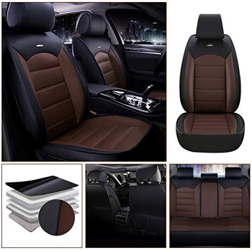 Qiaodi Auto sitzbezüge PU Leder 5 Sitze Komplett-Set Passend für Skoda Superb Fabia Octavia Rapid Yeti Combi Karop Kodiaq Kompatibel mit Airbag (Schwarz Kaffee)
