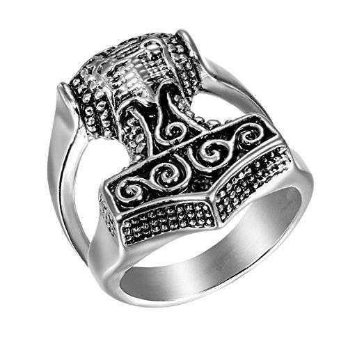 Jewelrywe Joyas anillo de hombre de acero inoxidable grande, color plata, con martillo de Thor plateado