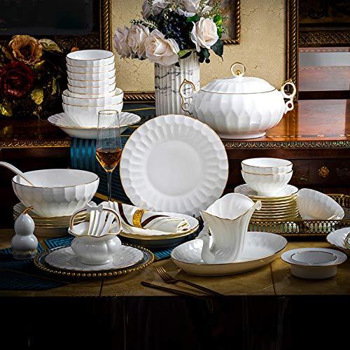 Juegos De Vajillas De Porcelana, 50 piezas de vajilla de porcelana de hueso de alta calidad de color blanco puro | Phnom Penh Soup Pot/Plate/Bowl - Juego de combinación de porcelana
