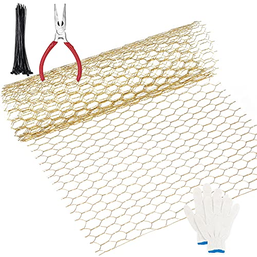 Chicken Wire Fencing, Chicken Wire for Crafts, Floral Chicken Wire, OVMKOV 13.7X 40x 0.63Inch Craft Chicken Wire Galvanized with Gloves, Cable Ties and Plier for Welded Cage, Craft - 10 ft (3 Sheets)