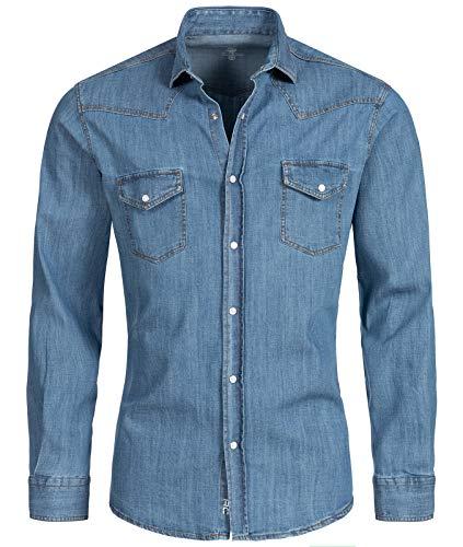Rock Creek Herren Jeans Hemd Herrenhemd Denim Jeanshemd Vintage mit druckknöpfen Regular Fit Stehkragen Kentkragen Langarm H-199Hellblau 3XL