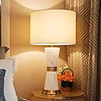 テーブルランプ 光ラグジュアリー現代のセラミックテーブルランプホームのベッドルームベッドサイドランプリビングルームホームライティングホワイトランプシェード ベッドサイドランプ