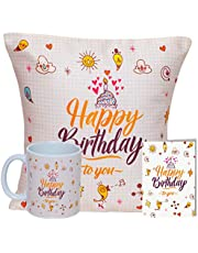 """Kaameri Bazaar Happy Birthday to You Combo Pack of 12 x 12"""" Fabric Cushion Cover with Filler, Ceramic Printed Coffee Mug, Greeting Card (Multicolor)"""