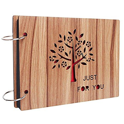 Ruix DIY Fotoalbum, 20,3 x 15,2 cm Wooden Scrapbook/Retro Album als Geschenk