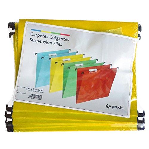 Grafoplas - Paquete 10 uds Carpeta Colgante Folio con Visor Superior Corto 65mm Efecto Lupa Amarillo -