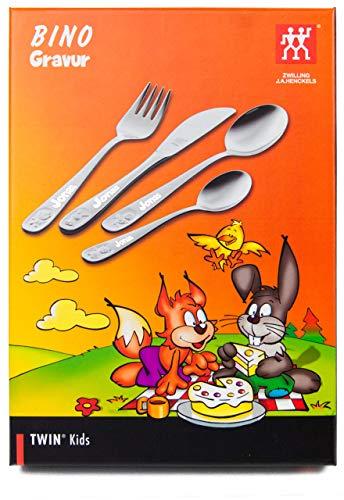 ZWILLING 07009-210 Kinderbesteck-Set Bino, Für Kinder ab 3 Jahren, 18/10 Edelstahl, 4-teilig, mit Gravur, Edelstahl