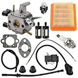 Anzac FS250 Carburetor with Ignition Coil Air Filter for Stihl FS120 FS200 FS250 FS250R FS300 FS350 FS120R FS250R Trimmer