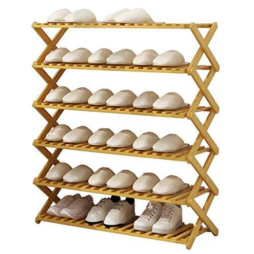 Busirsiz Zapatero de Madera Grande Puerta Plegable de Entrada Dormitorio Corredor Nivel 6 Ahorro de Espacio Organizador de bambú Botas