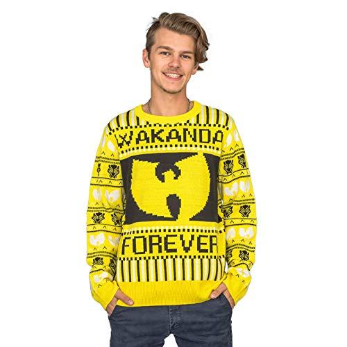 Marvel Comics Black Panther Wakanda Forever Wu Tang Ugly Christmas Sweater (X-Large)