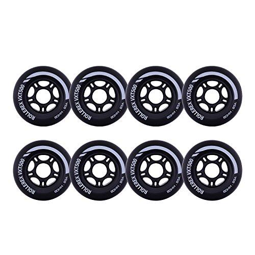 Rollerex VXT500 Inline Skate/Rollerblade Wheels (8-Pack) (Steel Black, 72mm)