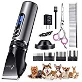 Gimars Quiet Rechargeable Cordless Electric Dog Hair Clippers, Powerful Pet Shaver Hair Clippers Dog Trimmers Shears Set...