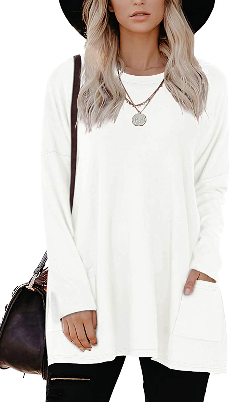 Bofell Tops for Leggings for Women Tunic with Pockets Loose Fitting Shirts Comfy White M
