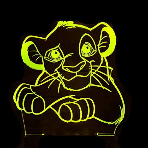 3D LED lámparas Tigre León ilusion optica luz de noche 7 colores Con