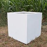 Elegant Einrichten Pflanzkübel, Blumenkübel Fiberglas quadratisch 60x60x60cm Perlmutt weiß.