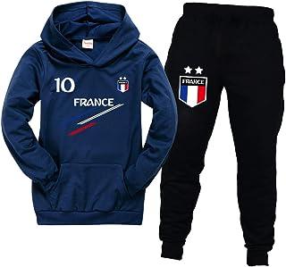 Chándal infantil de fútbol de Francia con 2 estrellas, sudaderas con capucha, chándal para niño