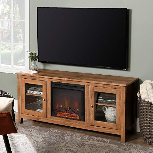 WE Furniture Traditional Wood Fireplace Stand for TV's up to 64' Living Room Storage, Barnwood Brown